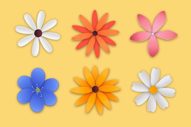 Красочная коллекция весенних цветов в бумажном стиле