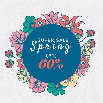 手描きの春セールと割引