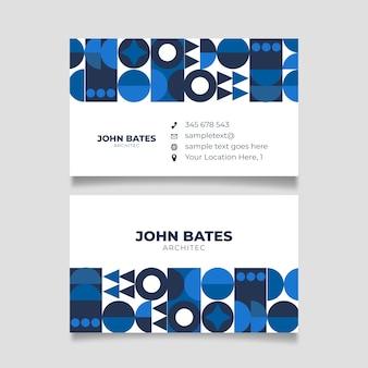 古典的な青い形のミニマリストの会社カード