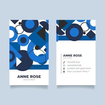 古典的な青の幾何学的形状を持つシンプルな名刺