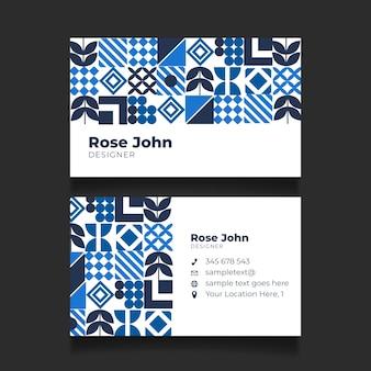 青い形の抽象的な名刺テンプレート