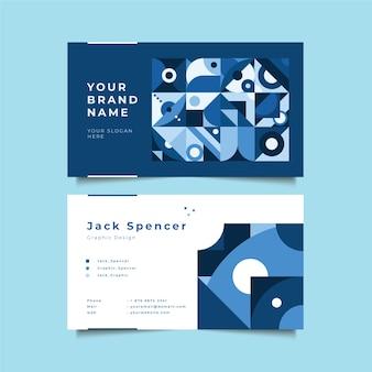 青い幾何学的形状を持つ抽象的な会社カードテンプレート