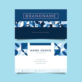 青い図形を持つ会社カードテンプレート