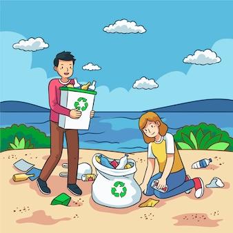 Люди убирают пляж