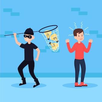 泥棒と電球の盗作コンセプト
