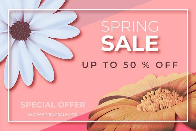 Реалистичная цветочная весенняя распродажа предлагает дизайн