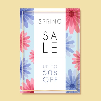 Весенняя распродажа флаер плоский дизайн шаблона с розовыми и синими цветами