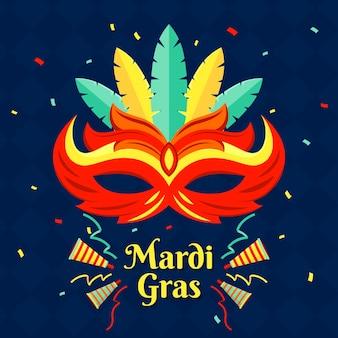 マルディグラのフラットなデザインのマスクと紙吹雪