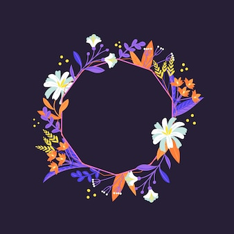 フラットなデザインの春の花のエレガントなフレーム
