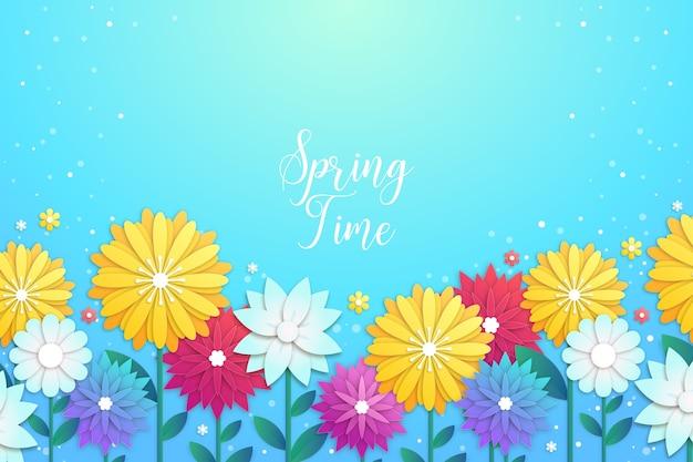 カラフルな紙のスタイルで春の時間の背景