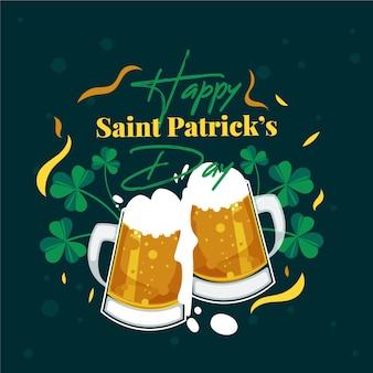 День святого патрика с плоским дизайном поджаривания пива