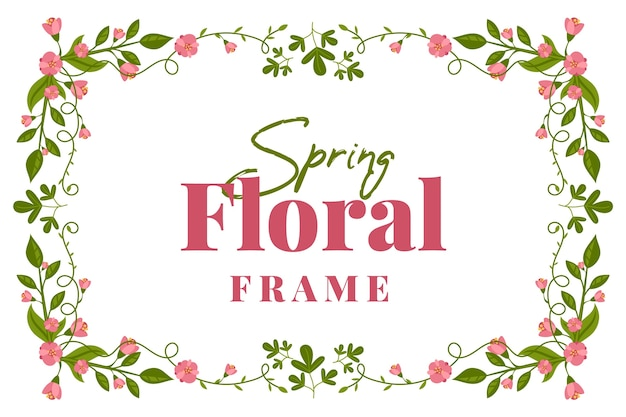Плоский дизайн весенний цветочный винтажная рамка