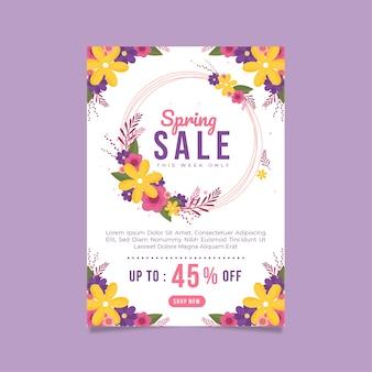 Весенняя распродажа флаер плоский дизайн шаблона с круговой цветочной рамкой