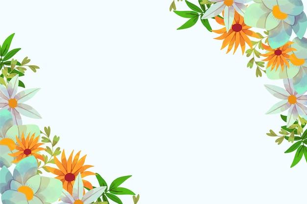 コピースペースと水彩花春背景フレーム