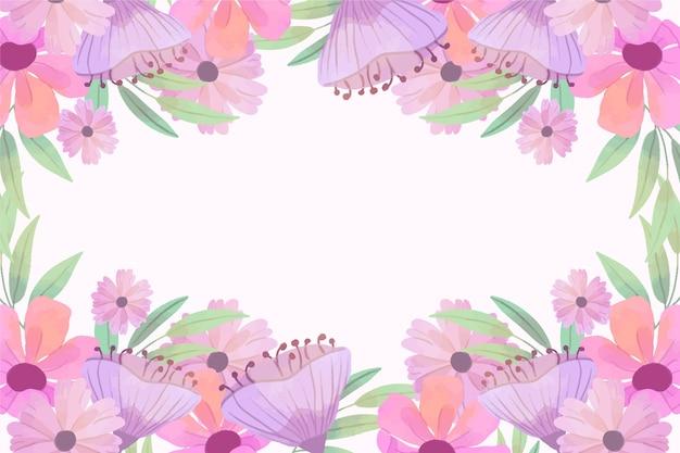 コピースペースで水彩ピンク春背景フレーム
