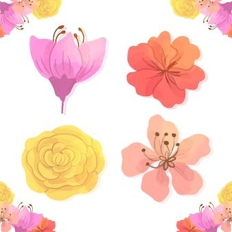 白い背景に分離された水彩画の春の花のコレクション