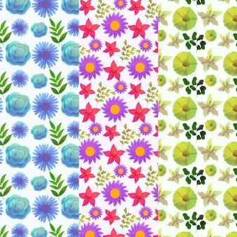 Акварель весенние цветы и листья бесшовные модели