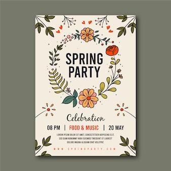 花の花輪と春のパーティーのポスター