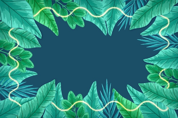 緑のネオンフレームと現実的な葉