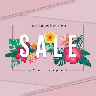 Весенняя коллекция продажи дизайн с яркими цветами