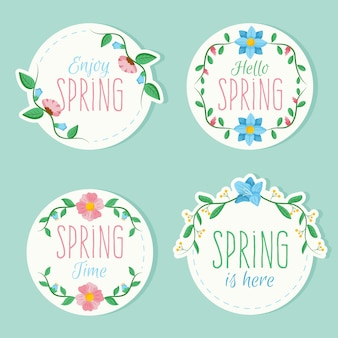 春をテーマにしたカラフルなバッジ
