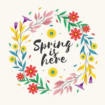 Весна здесь надписи в красочной цветочной рамке