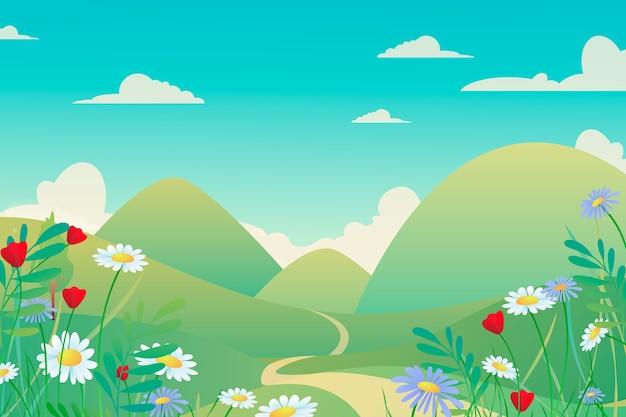 Красочный весенний пейзаж в градиенте