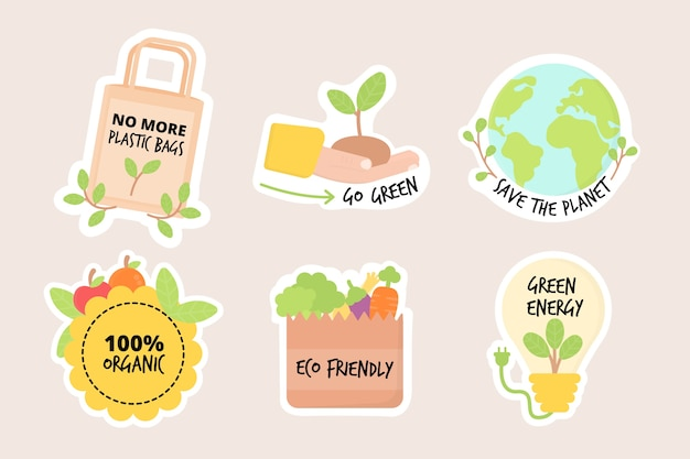 Коллекция рисованной экологии значки