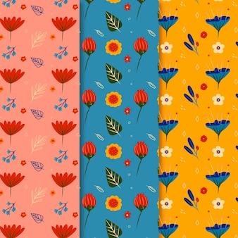 手描きのカラフルな春のパターンコレクション