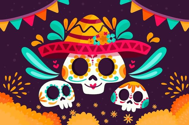 フラットなデザインのカラフルなメキシコの背景概念
