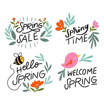 手描きの春バッジコレクション