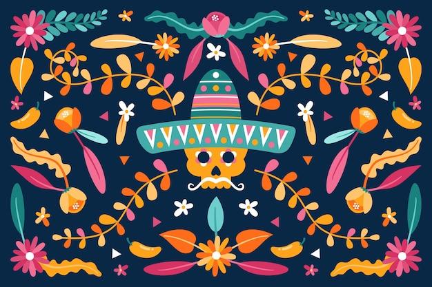 フラットなデザインのメキシコの壁紙