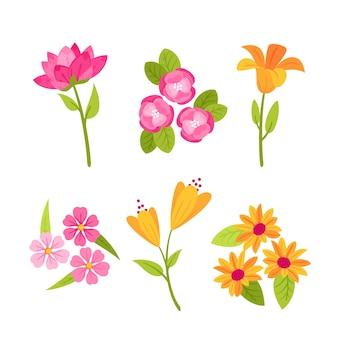 Плоский дизайн дизайн коллекции весенних цветов