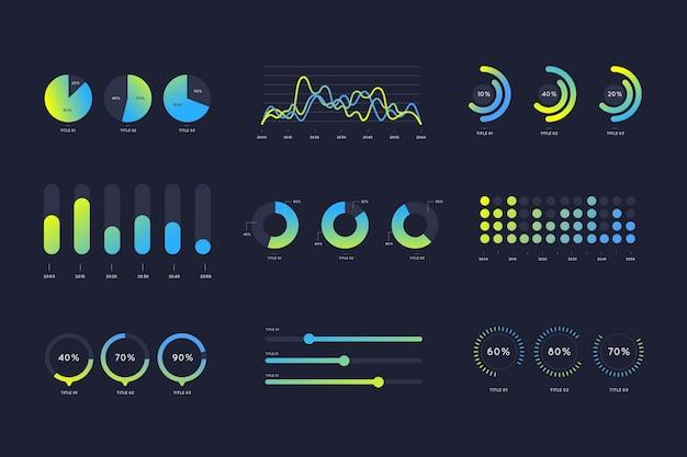 グラデーションの青と緑のインフォグラフィック要素