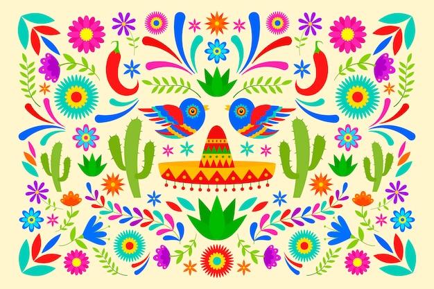 フラットなデザインのカラフルなメキシコの背景スタイル