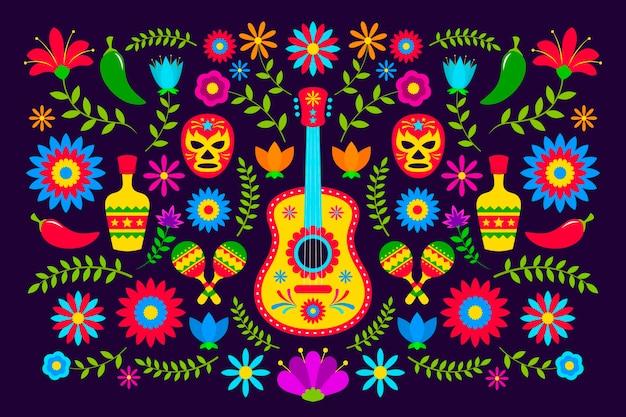フラットなデザインのカラフルなメキシコの背景テーマ
