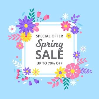 カラフルな花柄の春のセール