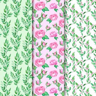 色とりどりの花で水彩春パターンコレクション