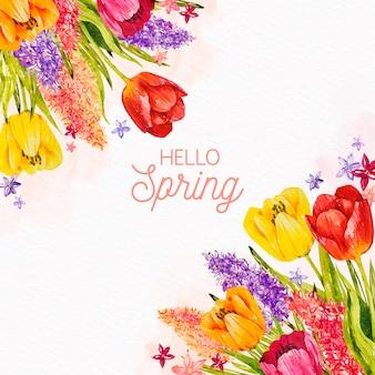 チューリップと花の品揃えと水彩春の背景