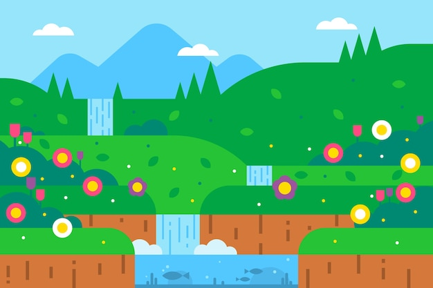 Весенний пейзаж с зеленью и водопадом