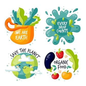 Рисование стиля значков экологии
