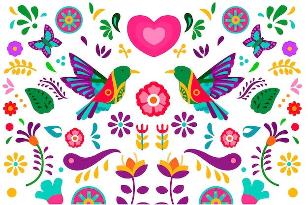 Плоский дизайн красочный мексиканский фон