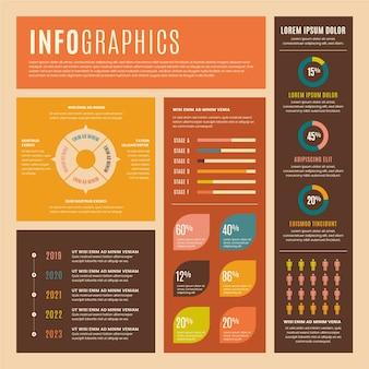 フラットなデザインでレトロな色のインフォグラフィック