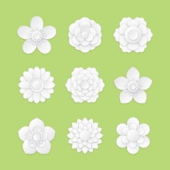 紙のスタイルで春の花のコレクション