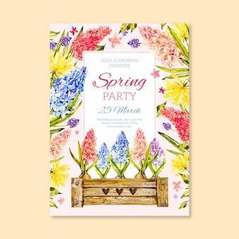 Шаблон плаката вечеринка акварель весна с яркими цветами