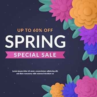 Весенняя распродажа предложений с цветами в бумажном стиле
