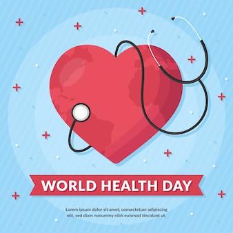 聴診器世界保健デーとフラットなデザインの心