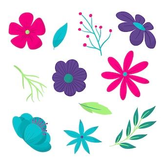 手描きの春の花のコレクション