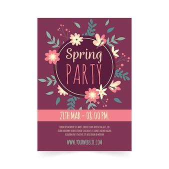 Нарисованный рукой шаблон плаката вечеринки весны