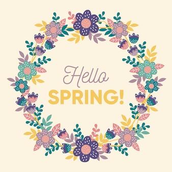 手描きの色とりどりの春の花のフレーム